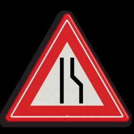 Verkeersteken Wegversmalling (links) Verkeersteken RVV J18 - klasse III smalle weg, pas op, let op, J18, obstakel