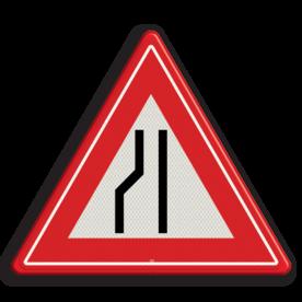 Verkeersteken Wegversmalling (rechts) Verkeersteken RVV J19 - klasse III smalle weg, let op, pas op, J19, obstakel