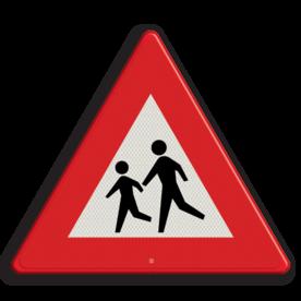 Verkeersbord Overstekende kinderen (spelende) Verkeersbord RVV J21 pas op, let op, kinderen, J21