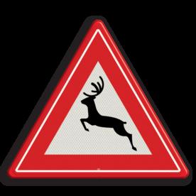 Verkeersbord Kans op overstekend groot wild Verkeersbord RVV J27 - Vooraanduiding groot wild J27 hert, overstekend wild, springend hert, driehoeksbord, gevaar, let op, pas op, dieren, J27