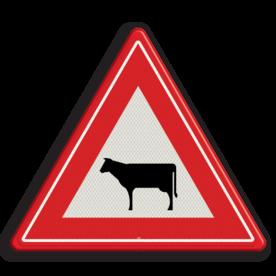 Verkeersbord Vooraanduiding oversteken vee Verkeersbord RVV J28 - Vooraanduiding oversteken vee J28 let op, pas op, koeien, dieren, J28, overstekende koeien, vee