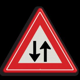 Verkeersbord Vooraanduiding tegenliggers Verkeersbord RVV J29 - Vooraanduiding tegenliggers J29 tegemoet komend verkeer, let op, pas op, J29, tegenliggers