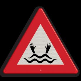 Informatiebord Drenkeling BE (Dit pictogram wordt in België gebruikt om een drenkeling aan te duiden) Informatiebord drenkeling BE belgie, gevaar, drijfzand,