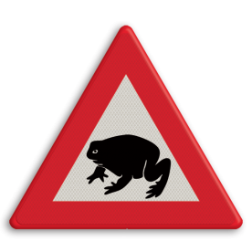 Verkeersbord Overstekende padden of kikkers Verkeersbord overstekende padden pad, kikker, dier,