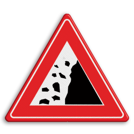 Informatiebord Let op! hier kunt u heftrucks verwachten. Informatiebord Vallend gesteente gevaar, vallende stenen, rotsblokken op de weg