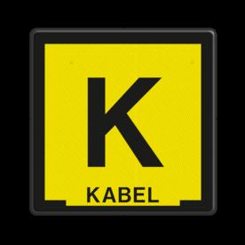 Informatiebord Kabelbord zwart/geel + tekst Tekstbord, zinker, zinkerbord, kabelbord, kabel, riool, hoogspanning