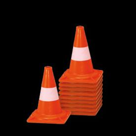 Afzetkegel/pylon 300mm - set van 10 stuks - oranje/wit pion, pionnen, kegels, pilon, oranje, hoedje, pylon, kegel, afzet, verkeer