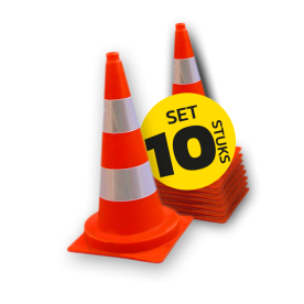 Afzetkegel 500mm - set van 10 stuks - oranje/wit reflecterend pion, pionnen, kegels, pilon, oranje, hoedje