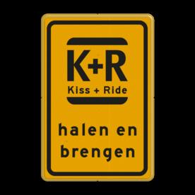 Verkeersbord WIU geel/zwart Kiss & Ride Tekstbord, WIU bord, tijdelijke verkeersmaatregelen, werk langs de weg, omleidingsborden, tijdelijk bord, werk in uitvoering, 3 regelig bord