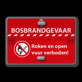 Informatiebord 2 standen - BOSBRANDGEVAAR + Grijsstand roken en open vuur verboden
