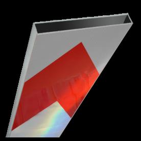 Schrikhekplank 5000mm lang kokerprofiel pijlmotief. RVV BB18-1 hekplank, schrikhek, rood, witte, planken, schrikplank, afzethek, blokken, RVV BB15-2, BB15