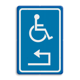 Routebord Parkeren + uitsluitend in de vakken + pictogram Routebord RVV E06 met pijl Routebord, E06, Pijl