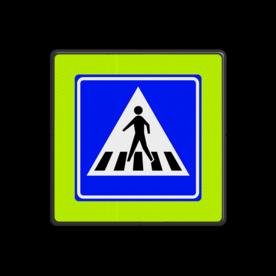 Verkeersbord Voetgangers oversteekplaats / zebrapad  Verkeersbord RVV L02f - Voetgangers oversteekplaats / zebrapad L02f oversteken, voetganger, wandelen, L2