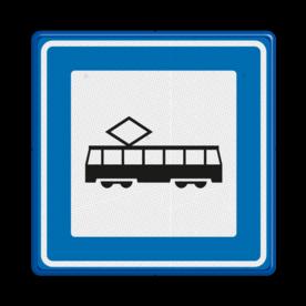 Verkeersbord Tramhalte/bushalte Verkeersbord RVV L03c - Tramhalte L03c Tram, Tramhalte, L03c, tramstation