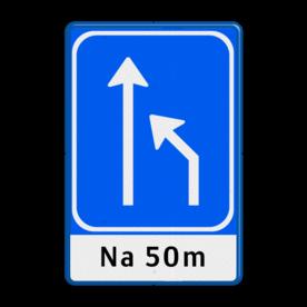 Verkeersbord Rijstrookbord Verkeersbord RVV L05-2-rd-la + ondertekst rijrichting, eenrichting, bord met pijl, vierkant bord met pijl, blauw bord met pijl, L04,L4, rijstrook pijlen