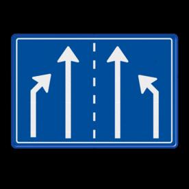 Verkeersbord RVV L05 - 1180x800mm - 4 pijlen Einde rijbaan, rijbanen, rijbaan, invoegen