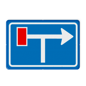 Verkeersbord Voorwaarschuwing doodlopende weg Verkeersbord RVV L09-1lt - Doodlopende weg - voorwaarschuwing L09 doodlopende weg, l9, versperring, geen doorgang, L9, geen doorgaande weg, vooraanduiding, voor waarschuwing