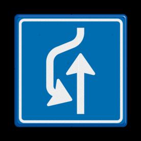 Verkeersbord Uitwijkplaats links van de weg Verkeersbord RVV L21 - uitwijkplaats links L21 rijrichting, bord met pijl, vierkant bord met pijl, blauw bord met pijl, c5