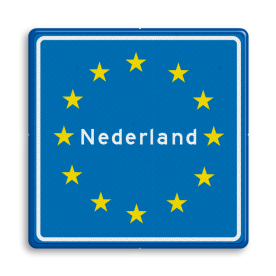 Verkeersbord Grensbord europa Verkeersbord RVV L403 - Grensbord europa L403 duitsland, belgië, nederland, frankrijk, italië, spanje, L403, grensbord