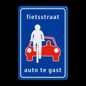 Verkeersbord Fietsstraat, auto te gast Verkeersbord RVV L51 - fietsstraat - Fietsstraat L51 fietsstraat, fietsweg,