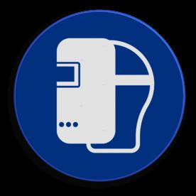 Product Het dragen van een laskap is verplicht Veiligheidspictogram - Laskap dragen verplicht - M019 NEN7010, veiligheidspictogram, Laskap, verplicht