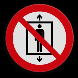 Veiligheidspictogram Geen lift gebruiken Veiligheidspictogram - Verboden deze lift te gebruiken voor personen - P027 lift, trap, verboden
