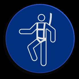 Veiligheidspictogram Het dragen van een lijfharnas is verplicht Veiligheidspictogram - Lijfharnas dragen verplicht - M018 NEN7010, veiligheidspictogram, lijfharnas, dragen, verplicht