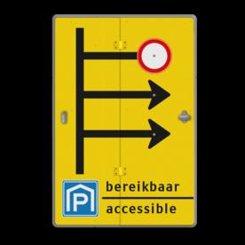 Boekwerkbord met pijlen en 'opzet'bordjes gesloten bedrijfsnaam, logo, fluor