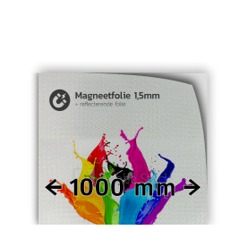 Magneetfolie reflecterend kl.3 wit 1.000mm breed + full colour opdruk reflex, fluoricerend, reflecterend, retroreflex, retroreflecterend, retro, bordfolie, signface