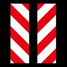 Markering rood/wit vlak Alupanel 250x800mm klasse 3 (set 2 stuks / 1 zijde)