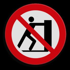 Product Verboden om op de lepels te staan Veiligheidspictogram - Verboden te duwen - P017 Lepels