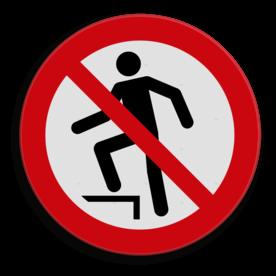 Veiligheidspictogram Niet op staan/klimmen Veiligheidspictogram - Verboden erop te gaan staan - P019  Klimmen, staan, springen
