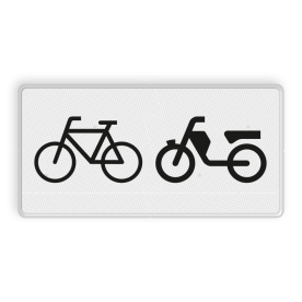 Verkeersbord Onderbord - Geldt alleen voor (brom)fietsers Verkeersbord RVV OB04 - Onderbord - Geldt alleen voor (brom)fietsers OB04 OB4, geldt alleen voor (brom)fietsers, (brom)fietsers, fietsers, brommers