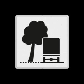 Verkeersbord Overhangende takken Verkeersbord RVV OB17l - Overhangende takken OB17 wit bord, kruispunt, OB17l, overhangende takken, bomen, links