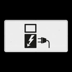Verkeersbord Onderbord - Geldt alleen voor elektrische voertuigen Verkeersbord RVV OB19 - Onderbord - Geldt alleen voor elektrische voertuigen OB19 Geldt alleen voor elektrische voertuigen wit bord, OB-19, OB19, opladen, elektrisch laden