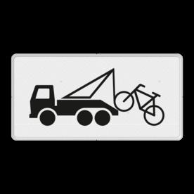 Verkeersbord Wegknipregeling van kracht Verkeersbord RVV OB304a - Onderbord - Wegknipregeling van kracht OB304a vrachtwagen, vrachtauto, fiets, wit bord, OB304, OB304a, wegknipregeling