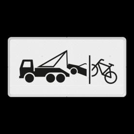 Verkeersbord Onderbord - Wegsleep- en knipregeling van kracht Verkeersbord RVV OB304c - Onderbord - Wegsleep- en knipregeling van kracht OB304c vrachtwagen, vrachtauto, auto, wit bord, OB304c, wegsleepregeling, wegknipregeling