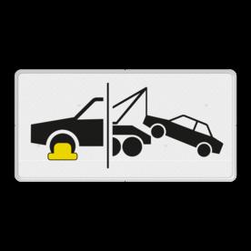 Verkeersbord Onderbord - Wielklem- en sleepregeling van kracht Verkeersbord RVV OB304d - Onderbord - Wielklem- en sleepregeling van kracht OB304d wielklem regeling van kracht, wielklemregeling, OB304d, wegsleepregeling