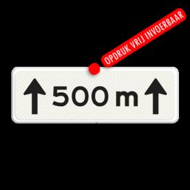 Verkeersbord Onderbord - Afstands-aanduiding Onderbord - Afstands-aanduiding over een lengte van.. M Verkeersbord RVV OB411-500 - Onderbord - Afstands-aanduiding Onderbord - Afstands-aanduiding over een lengte van.. M wit bord, 500 meter, meter, OB411 500