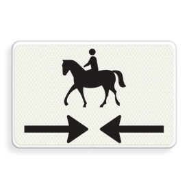 Verkeersbord Onderbord - Kruising ruiterpad Verkeersbord RVV OB503OB01 - Onderbord - Kruising ruiterpad OB503OB01 ruiter, amazone, paard, pijlen, rechts en links, OB503, OB01, OB503OB01