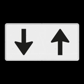 Verkeersbord Onderbord - Pijlbord tegenliggers Verkeersbord RVV OB505 - Onderbord - Pijlbord tegenliggers OB505 wit bord, pijlen, naar boven, naar beneden, OB505