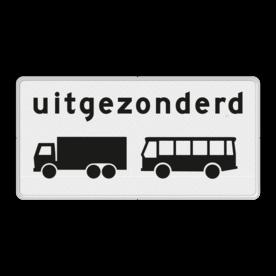 Verkeersbord Onderbord - Uitgezonderd vrachtauto's en bussen Verkeersbord RVV OB63 - Onderbord - Uitgezonderd vrachtauto's en bussen OB63 wit bord, uitgezonderd vrachtauto's en bussen, touringcars, vrachtwagen, OB63
