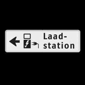 Verkeersbord Onderbord - Elektrisch laadstation links Verkeersbord RVV OBE05l - Onderbord -  Elektrisch laadstation links OBE05l wit bord, OBE05, Diversen, Elektrisch laadstation links, laden, pijl, links, OB19, OB19l
