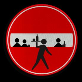 Verkeersbord biertje bestellen? cadeau, kado, soepbord, plassen verboden, manneke pis, urine, uitgaan, telefoon, uitschakelen