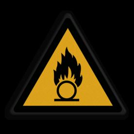 Product waarschuwing voor Oxiderende stoffen Veiligheidspictogram - Pas Op! Oxiderende stoffen - W028 Oxiderend, stof, stoffen, oxideren