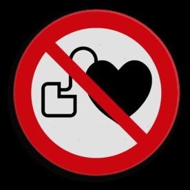 Veiligheidspictogram Verboden toegang voor personen met een pacemaker. Veiligheidspictogram - Hart pacemakers verboden - P007 drugs, amsterdam