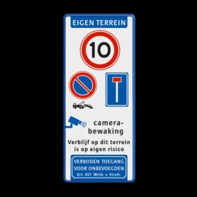 Parkeer-/Informatiebord Eigen Terrein met diverse symbolen & teksten Wit / blauwe rand, (RAL 5017 - blauw), EIGEN TERREIN (banner), A01-010, E04, parkeren alleen, voor bewoners,   Verboden toegang