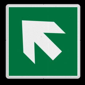Veiligheidspictogram Pijl links-omhoog Veiligheidspictogram - Vluchtroute - te volgen richting - Pijl links-omhoog Pijl, links, omhoog, pijlen