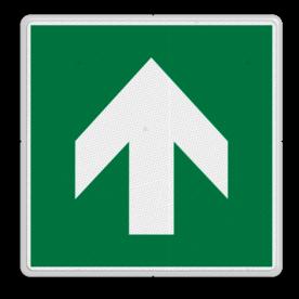 Veiligheidspictogram Pijl omhoog Veiligheidspictogram - Vluchtroute - te volgen richting - Pijl omhoog Pijl, links, wijzend, pijlen