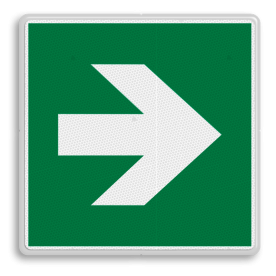 Veiligheidspictogram Pijl rechts Veiligheidspictogram - Vluchtroute - te volgen richting - Pijl rechts Pijl, rechts, wijzend, pijlen, omhoog
